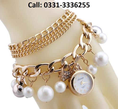 Pearl Bow Bracelet Wristwatch