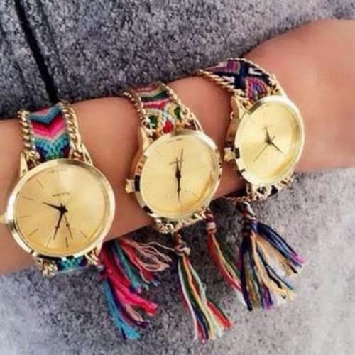 silk handmade fashion friendship women golden bracelet new ladies thread braided brand watch geneva watches item