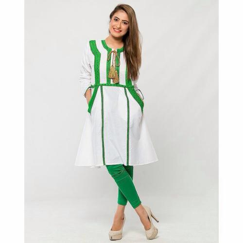 Independence Day Bareeza Cotton Embroidery Kurti