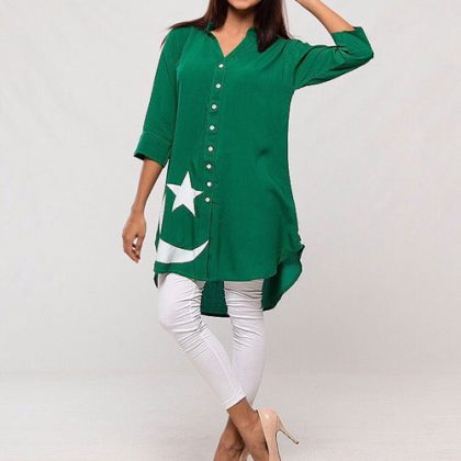Independence Day Front Open Button Shirt