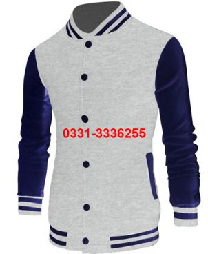 Grey Varsity Jacket For Men