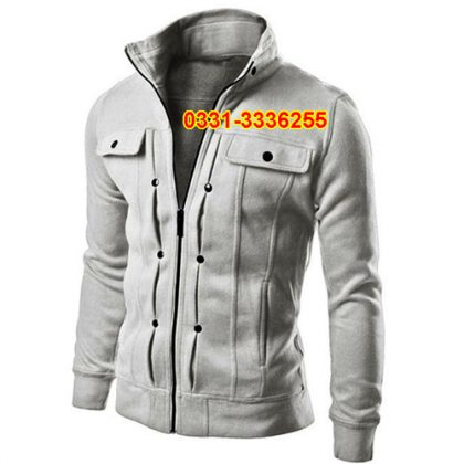 Stylish Fleece Jacket For Mens Grey