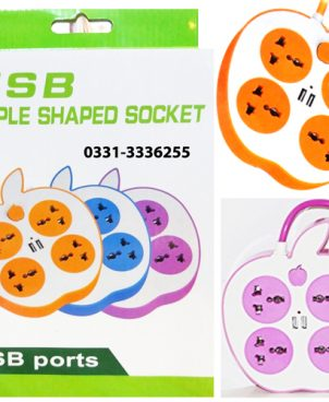 Apple Shaped Smart USB Extension Socket 4 AC And 2 USB Outputs