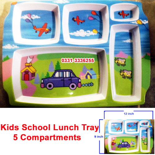 Kids School Lunch Tray 5 Compartment