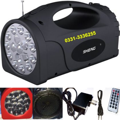 MIC Amplifier LED Flashlight, FM Radio MP3 Player