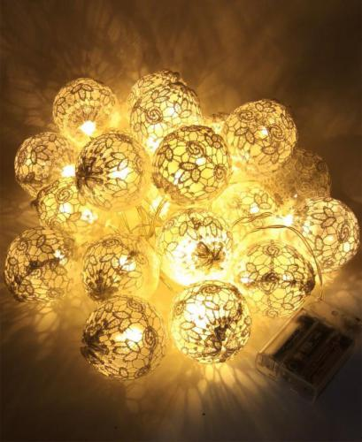 20 Led Cotton Balls String Lights Battery Garland Cotton Balls Light Chain Christmas Lights