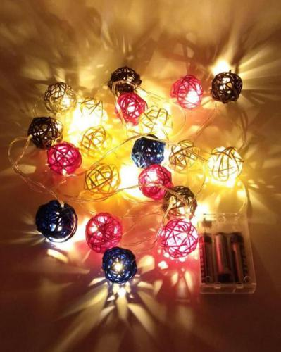 3 Meter Length 20 Cotton Balls Led String Lights Battery Garland Cotton Balls Light Chain