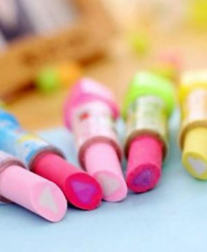 Pack Of 5   Lipstick Erasers   Multicolor