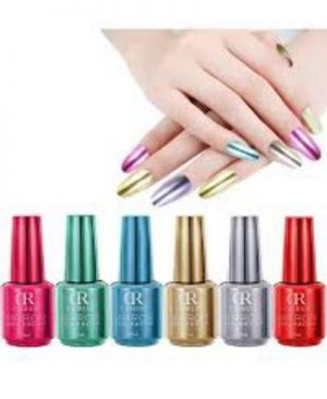 Pack Of 6 Shimmer Mirror Nail Polish   Multicolour