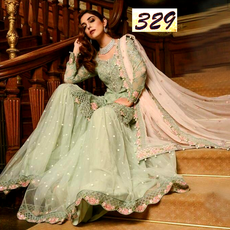 Chiffon Dress With Chiffon Dupatta & Trouser Net Bunches (DM MB 329) 0