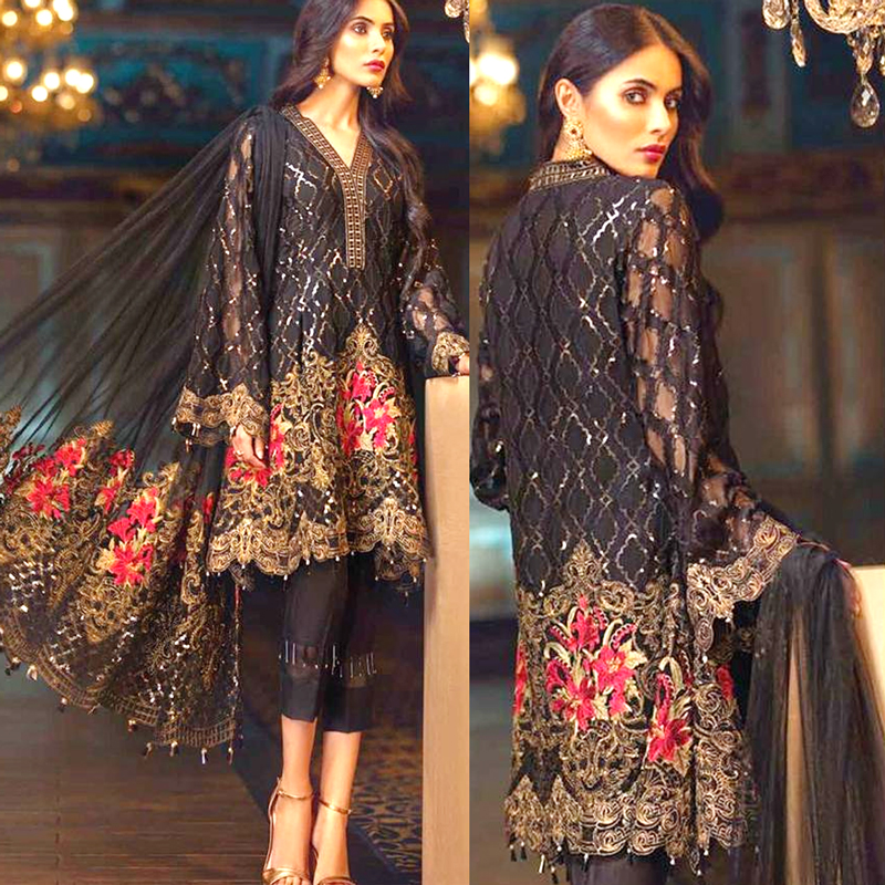 Chiffon Dress With Net Dupatta Full Embroidered Suit (DM Jaz 505) 0