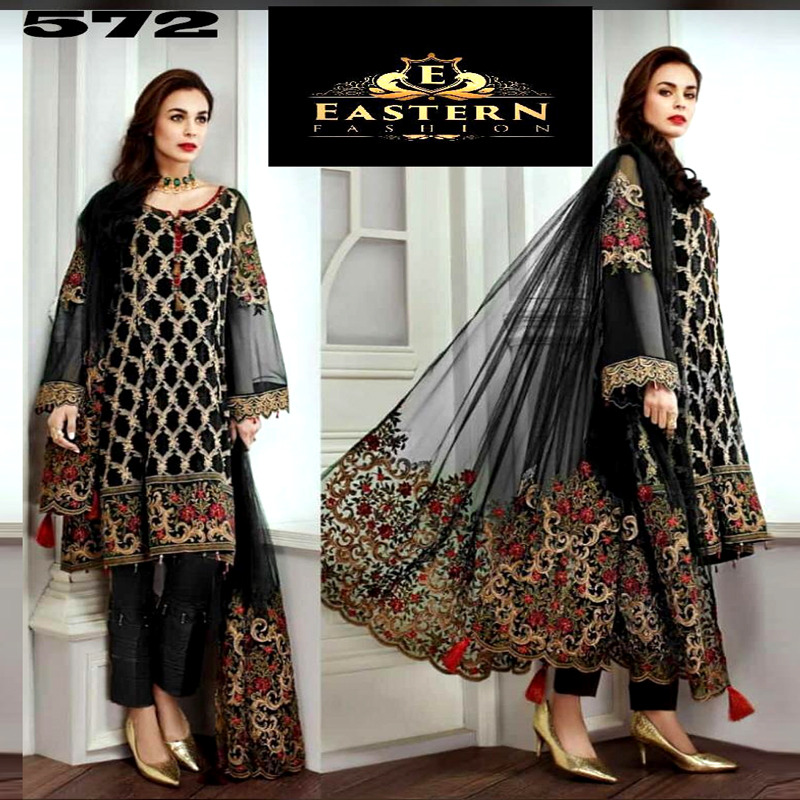 Chiffon Dress With Net Dupatta & Malai Trouser (DM Jaz 572) 0