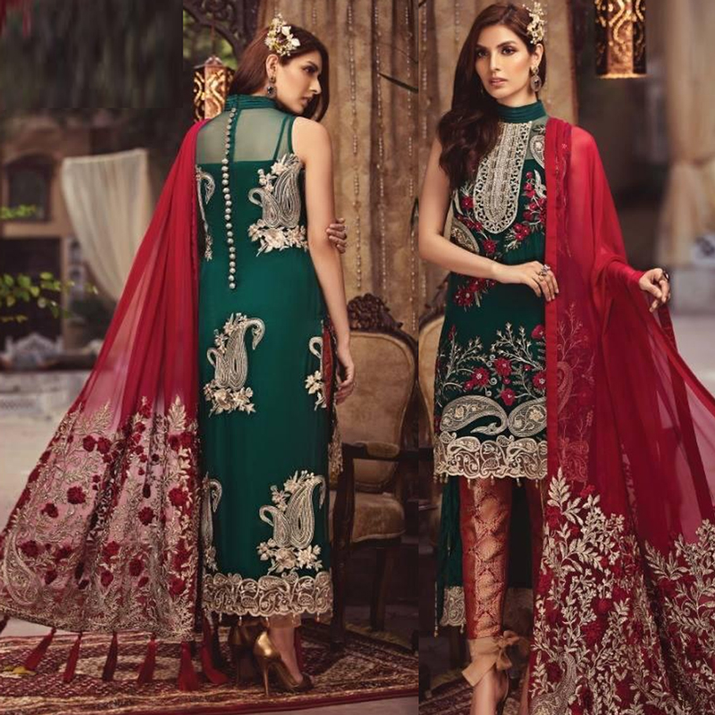 Chiffon Full Embroidered Dress Original Embroidery (DM Ser 545) 0