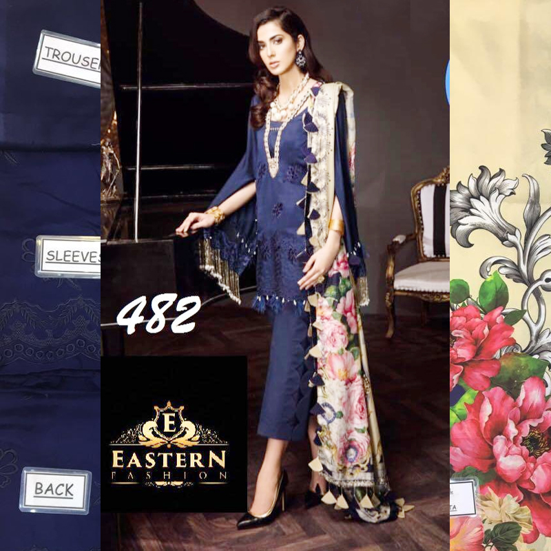 Cotton Net Dress With Digital Silk Dupatta & Lawn Trouser (DM SA 482) 0