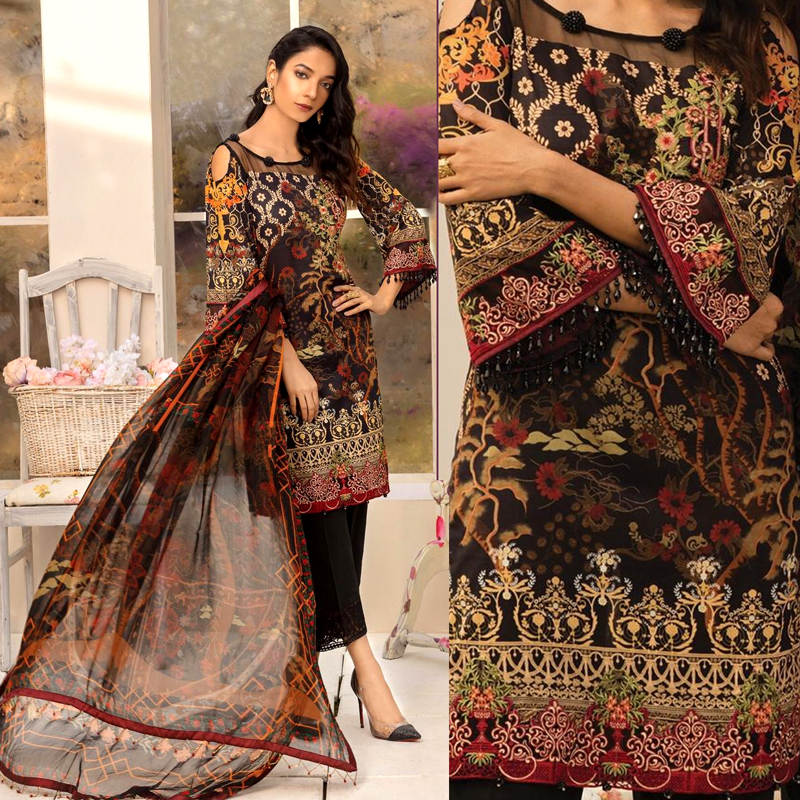 Embroidery Printed Lawn Suit With Chiffon Printed Dupatta (DM GUL 619) 0