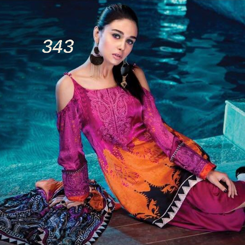 Lawn Suit And Trouser With Chiffon Dupatta (DM MB 343) 0