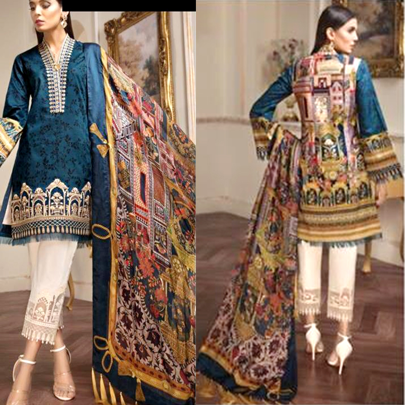 Lawn Suit Chiffon Dupatta Lace Embroidery Work (DM AN 604 A) 0