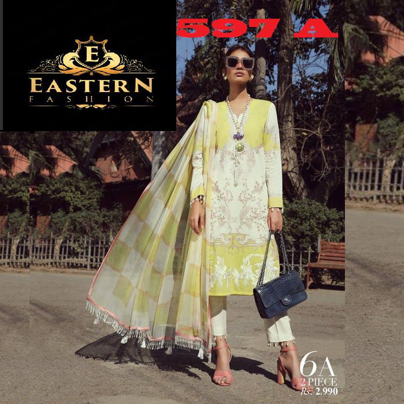 Lawn Suit Embroidered With Lawn Dupatta (DM SS 597) 0