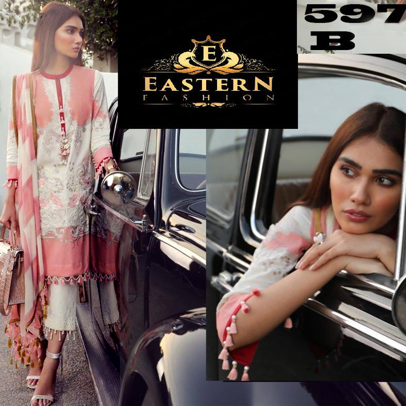 Lawn Suit Embroidered With Lawn Dupatta (DM SS 597 B) 0