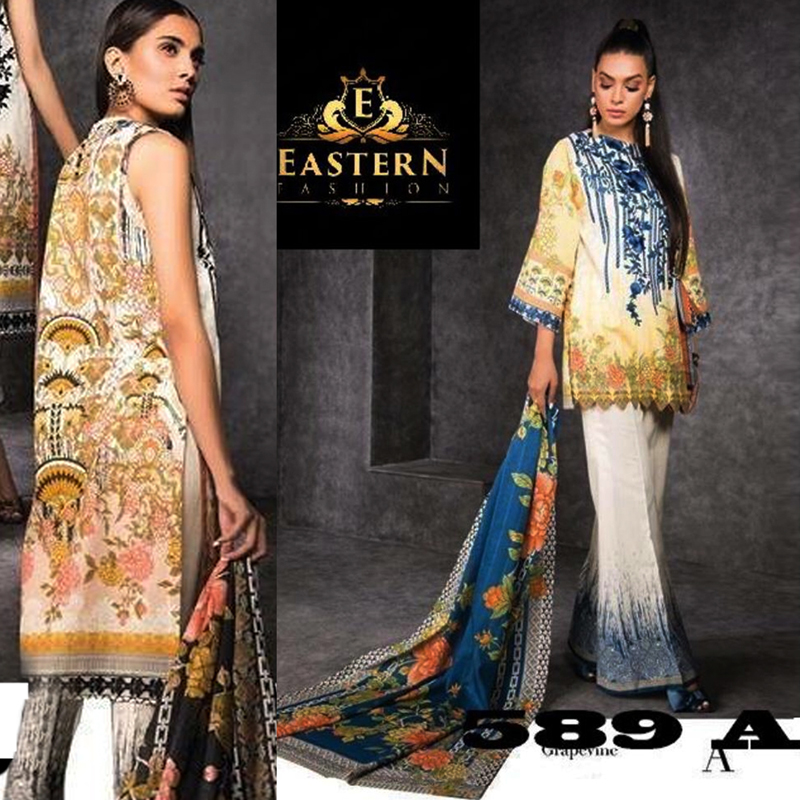 Lawn Suit Front Printed With Neck Embroidered (DM SL 589) 0