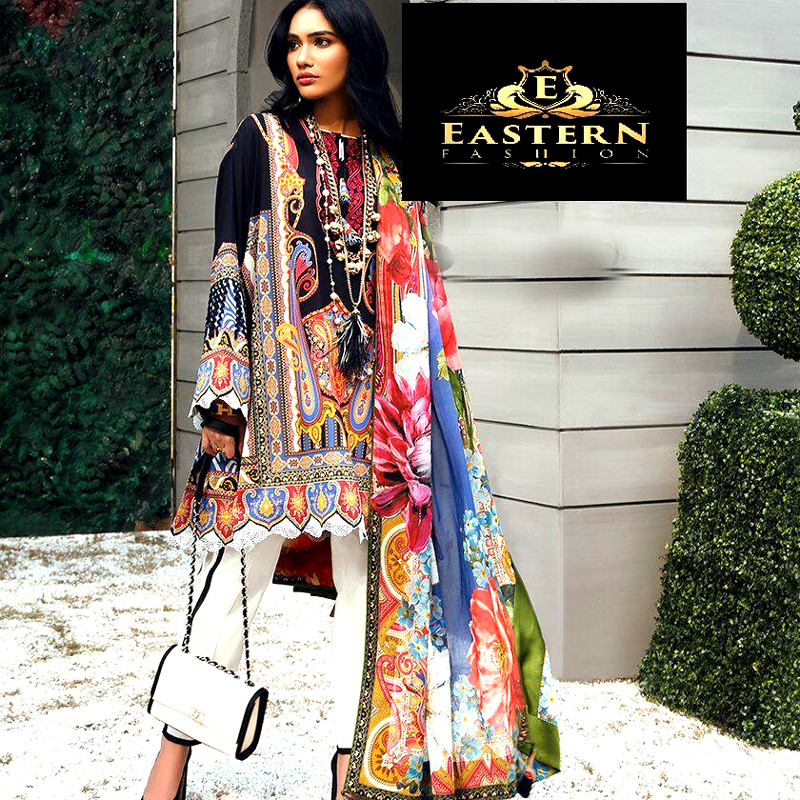 Lawn With Printed Chiffon Dupatta Front Neck Embroidery On Organza (DM ZL 615 A) 0
