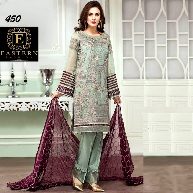 Mysore Suit Embroidered With Chiffon Dupatta & Malai Trouser (DM Bar 450) 0