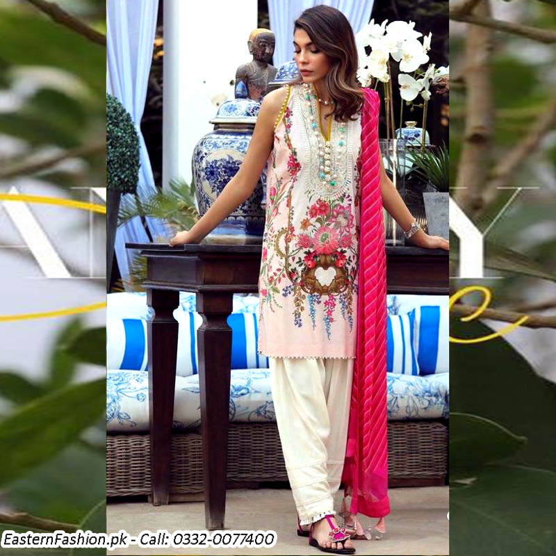 Printed Lawn Suit With Lawn Dupatta & Trouser (DM SS 610 A) 0