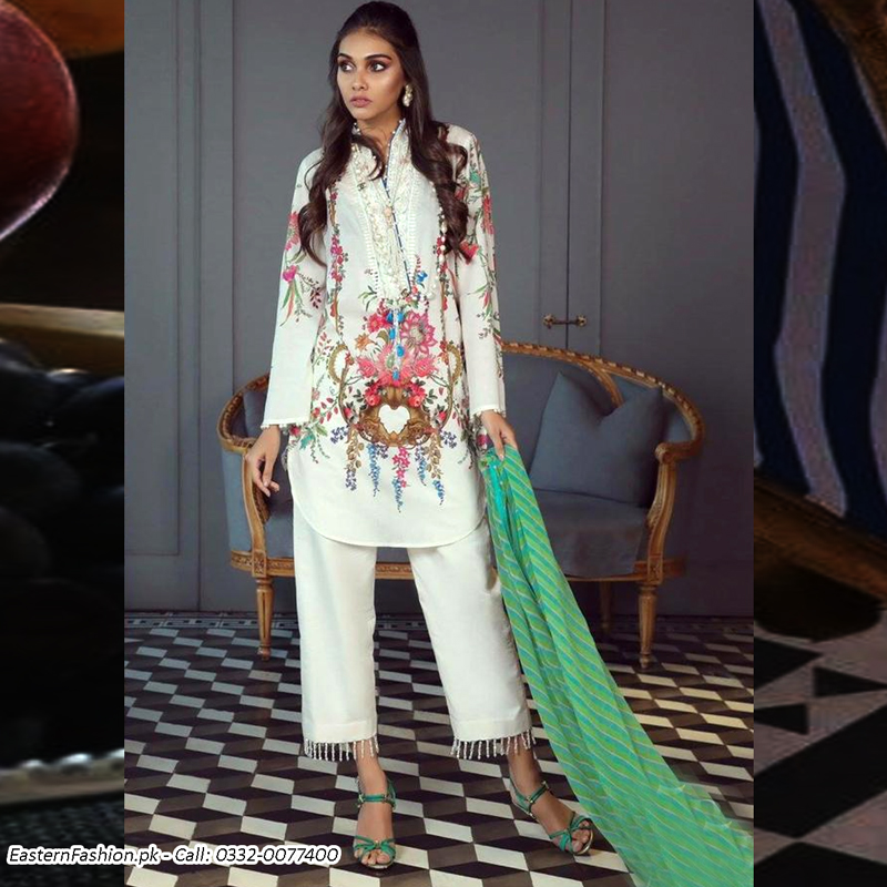 Printed Lawn Suit With Lawn Dupatta & Trouser (DM SS 610 B) 0