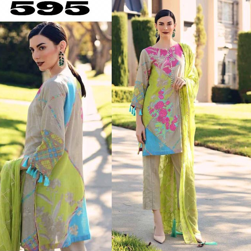 Printed Lawn Suit With Printed Chiffon Dupatta (DM Char 595) 0