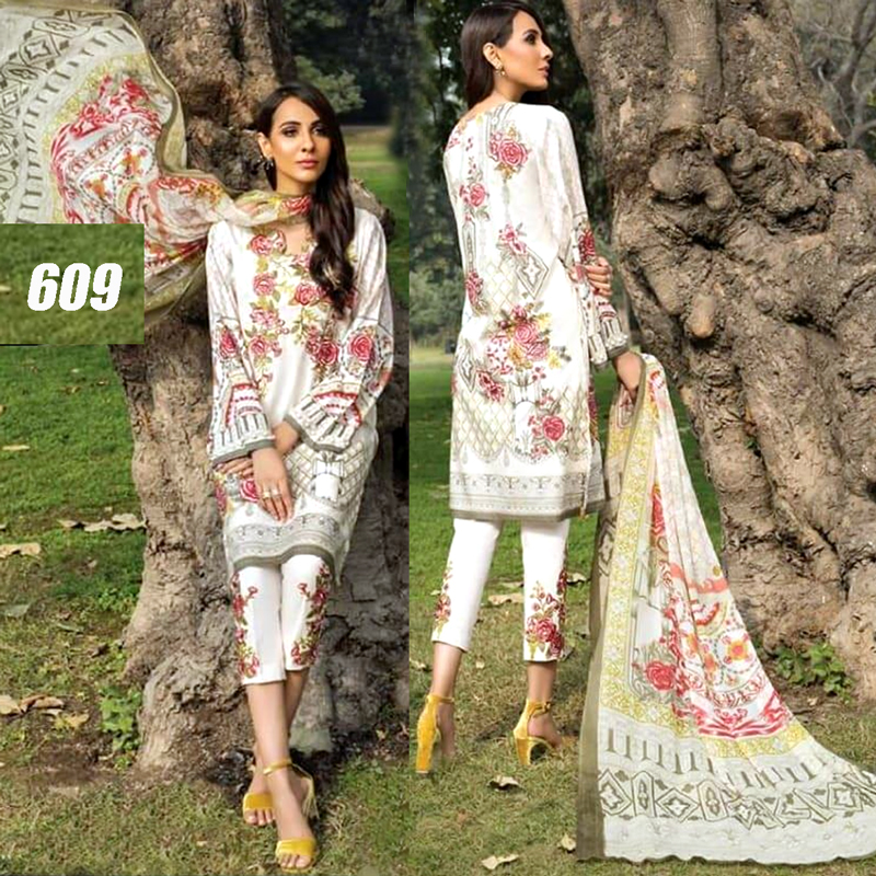 Printed Lawn Suit With Trouser Bunches Embroidery (DM BT 609) 0