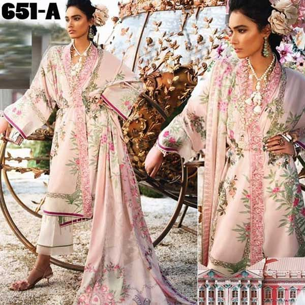 4 Suits Pack Of Embroidery Lawn Suits 2019 Design 651 A
