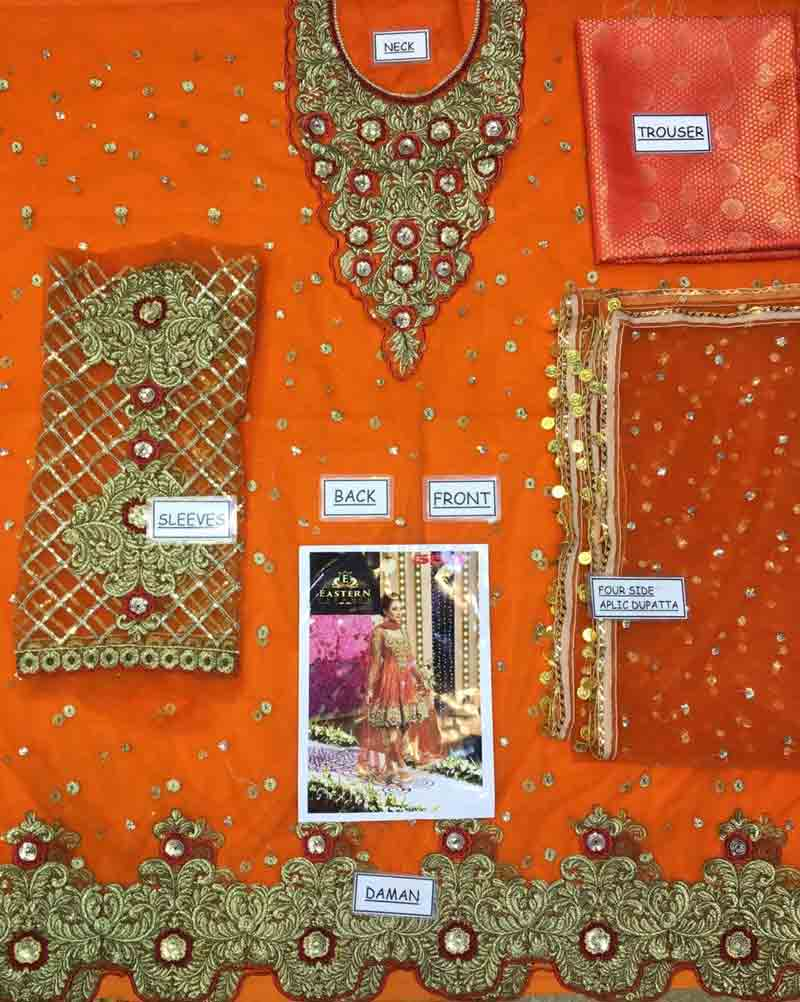 Bridal Embroidered Net Dress With Jamawar Trouser (DM Kash 550 Orange) 0