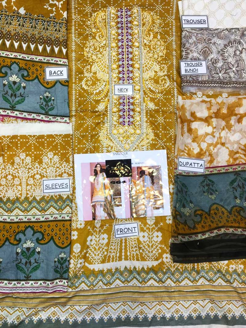Embroidery Lawn With Chiffon Dupatta & Trouser Lace Embroidery (DM BAR 664) 0