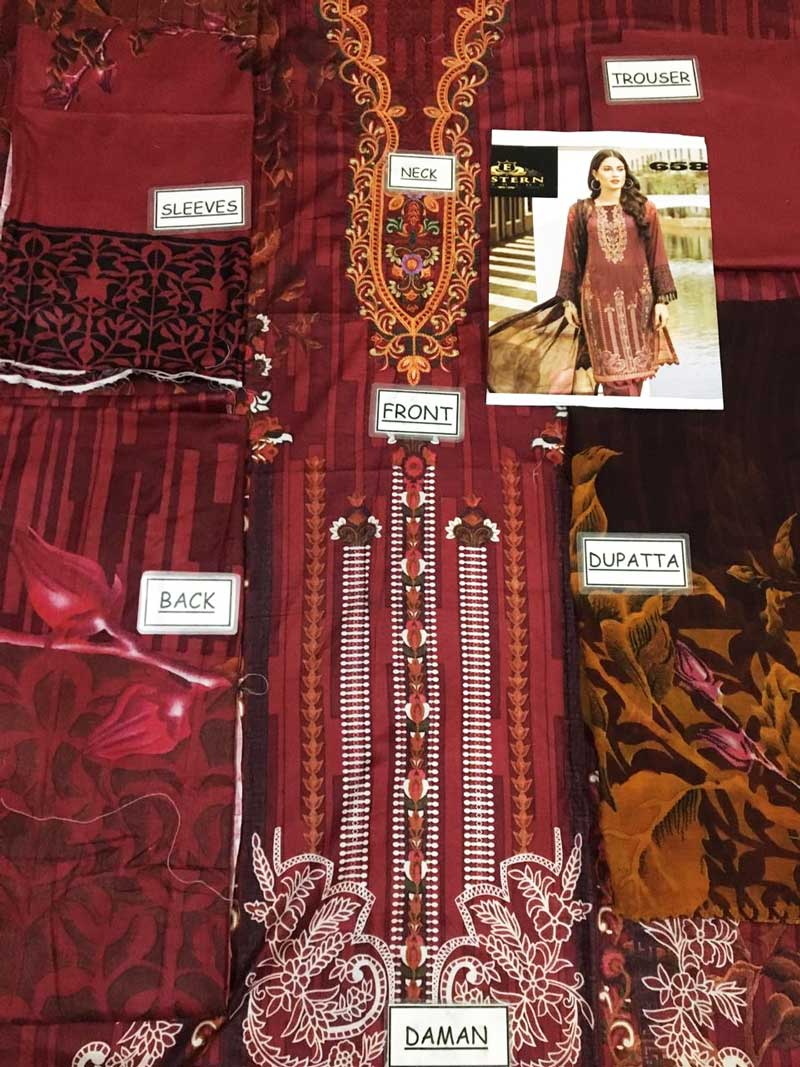 Embroidery Printed Lawn With Chiffon Dupatta & Plain Trouser (DM IZN 658) 0