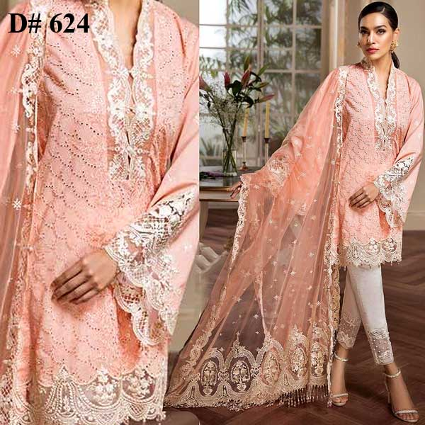Special Summer Offer Pack Of 3 Embroidery Lawn Suits 2019 Design 624