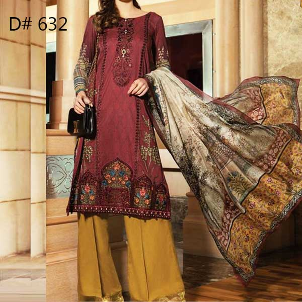 Super Deal Pack Of 3 Embroidery Lawn Suits 2019 (Design 632