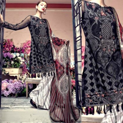 Black Lawn Suit Chiffon Dupatta With Printed Embroidery Sleeves DM AAY 623 A.jpg