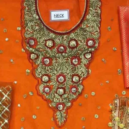 Bridal Embroidered Net Dress With Jamawar Trouser DM KASH 550 Orange 1.jpg