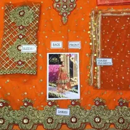 Bridal Embroidered Net Dress With Jamawar Trouser DM KASH 550 Orange 3.jpg