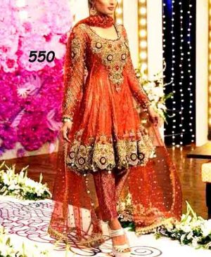 Bridal Embroidered Net Dress With Jamawar Trouser DM KASH 550 Orange.jpg