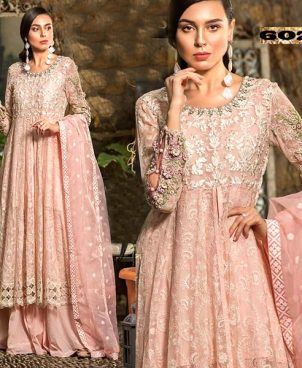 Chiffon Dress Embroidered With Cutwork Daman Handwork Neck DM MB 602.jpg