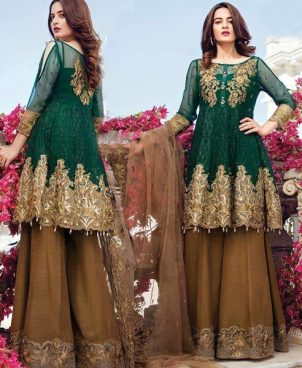 Chiffon Dress Embroidered With Net Dupatta Silk Trouser DM IMRZ 430.jpg