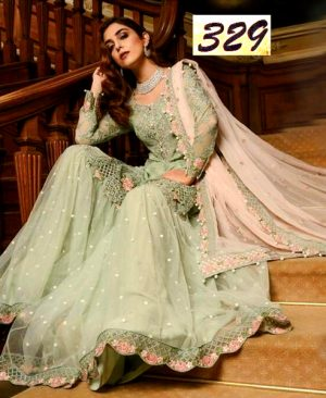 Chiffon Dress With Chiffon Dupatta Trouser Net Bunches DM MB 329.jpg