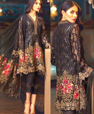 Chiffon Dress With Net Dupatta Full Embroidered Suit DM JAZ 505.jpg