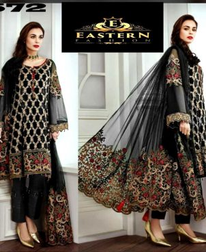 Chiffon Dress With Net Dupatta Malai Trouser DM JAZ 572.jpg