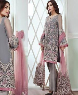 Chiffon Dress With Net Dupatta And Jamawar Trouser DM JAZ 363.jpg