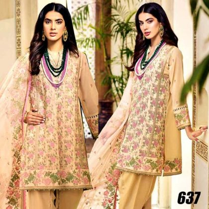 Chiffon Heavy Embroidered Dress With Net Dupatta And Malai Trouser DM GA 637.jpg
