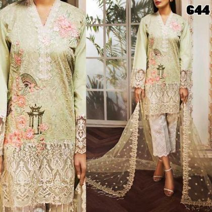 Cotton Lawn Full Heavy Embroidered Dress With Applic Work Net Dupatta DM AN 644.jpg