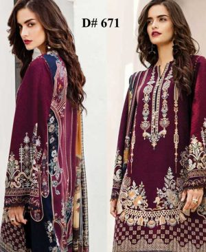 Embroidered Lawn Suit Printed Chiffon Dupatta Lawn Trouser DM BAR 6711 1.jpg