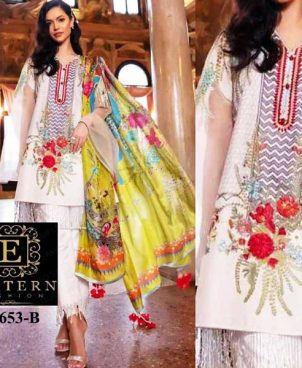 Embroidered Lawn Suit With Chiffon Printed Dupatta Lawn Trouser DM SS 653 B.jpg